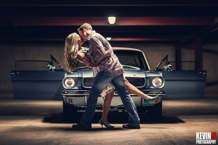 engagement photos with mustang | Engagement session shot in a parking garage with a classic Mustang as ...