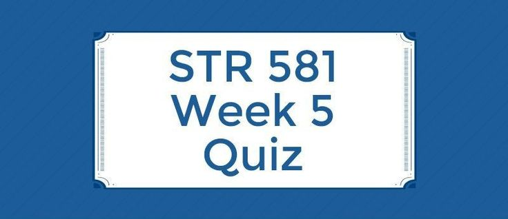 STR 581 Week 5 Quiz===================1. This is concerned with tracking a strategy as it is being implemented, detecting problems or changes in its underlying premises, and making necessary adjustments. 2. Discussion about and agreement on short-term objectives help raise issues and potential confl