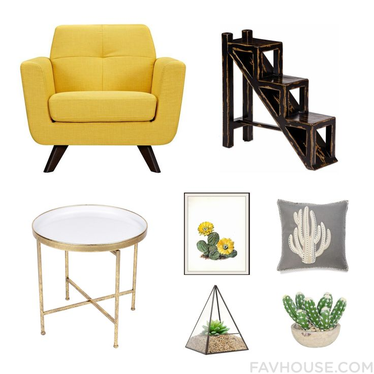 Interior Design List Featuring Chair Weathered Furniture Accent Table And Yellow Wall Art From September 2016 #home #decor
