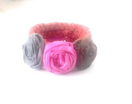 Bracelet Coma is red rosettes Three wheels BRAID by recyclingroom, $25.00