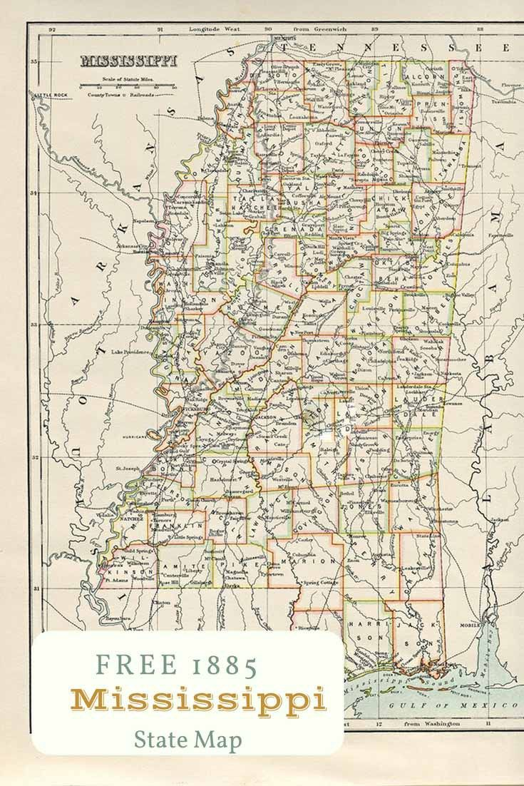 Free printable old map of Mississippi from 1885. #map #usa ...