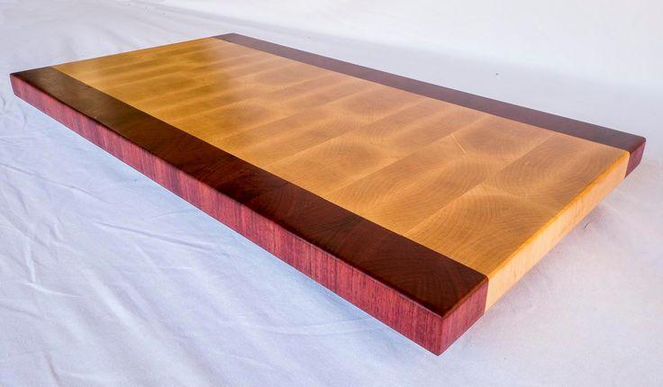 End Grain Cutting Board, Maple, Artisan BookMatched Cutting Board, Purpleheart, Rectangular Board, Custom, Juice Drain, Finger Pull, Engrave