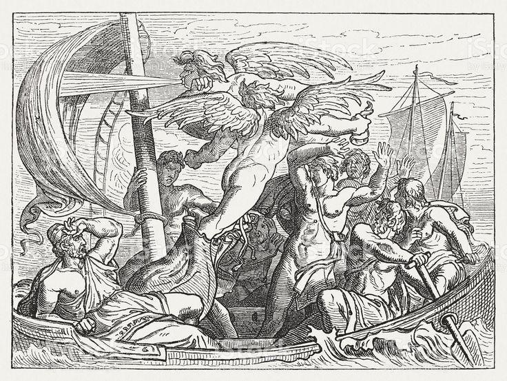 Dio del vento Eolo porta Ulysses la sventura, la mitologia greca, pubblicata 1880 illustrazione royalty-free