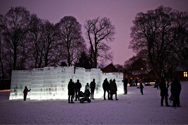 Ice labyrinth in Oslo Botanical Gardens, Oslo, Norway. Photo: Jon Arne Foss