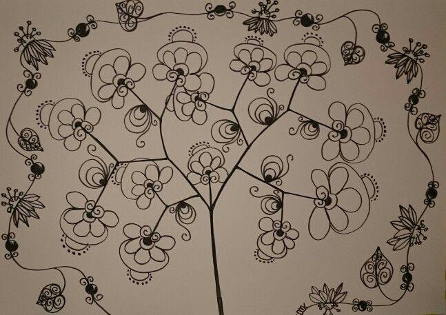 Zentangle pattern tree