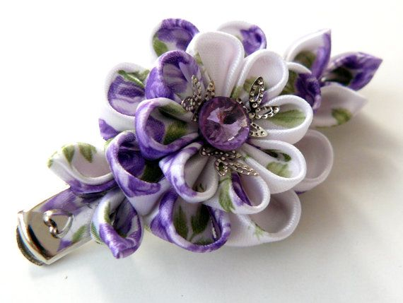 Kanzashi fabric flower hair clip. Violet and white. by JuLVa, $11.50