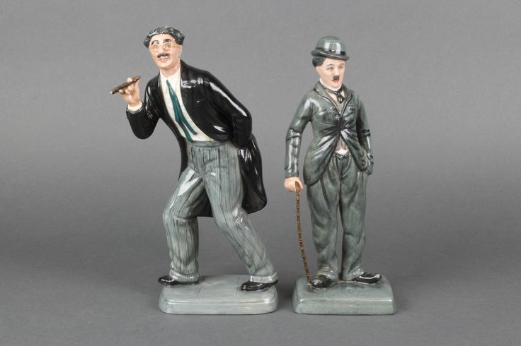 """Lot 9, Two Royal Doulton figures - Charlie Chaplin HN2771 9"""" and Groucho Marx HN2777 9"""" sold for £110"""