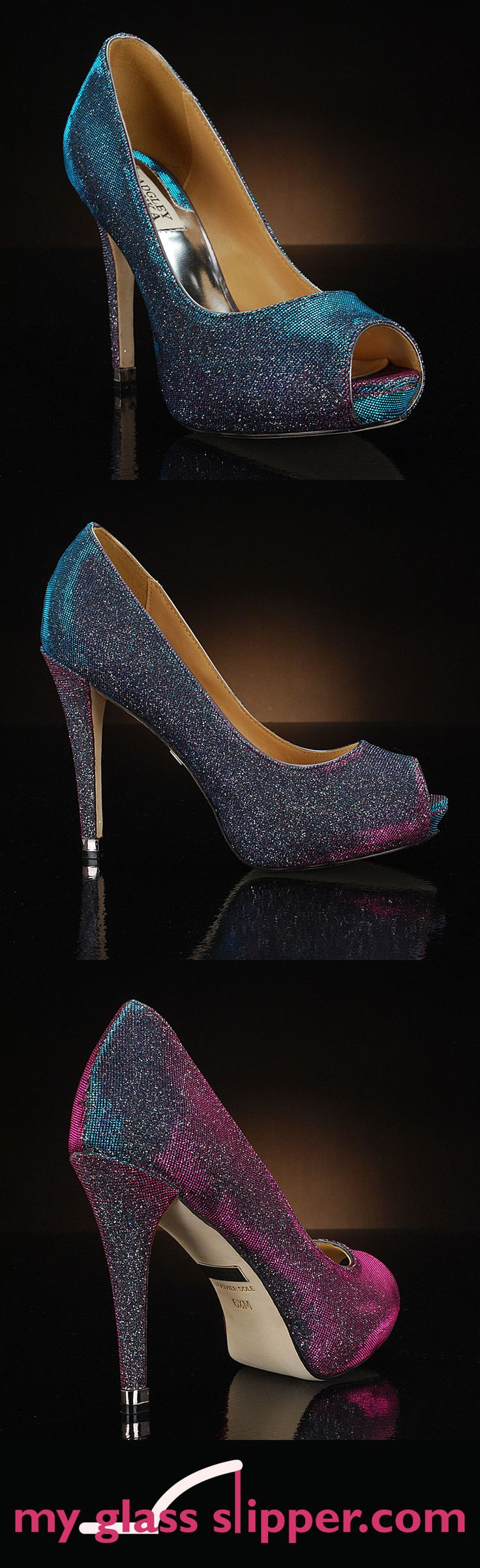 HUMBIE IV in GREY PLUM by BADGLEY MISCHKA: The bestselling Humbie wedding shoes get a chic, fashion-forward update in this grey-plum shimmer that evokes the popular peacock wedding colors. Iridescent shimmer of teal, purple, blue and green is irresistible!