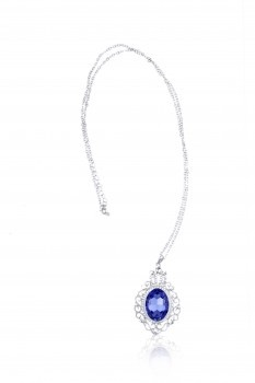 Purple Ellispse Crystal with Vintage Pattern Pendant Necklace