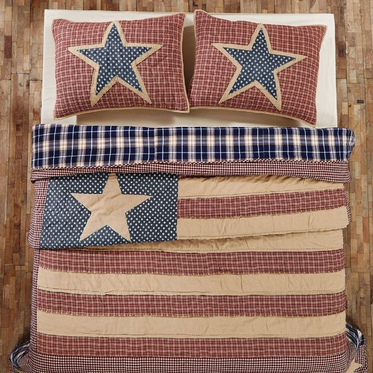 Americana Look Independence Quilt USA Flag Red, Tan and Blue #VHCVictorianHeart #Patriotic