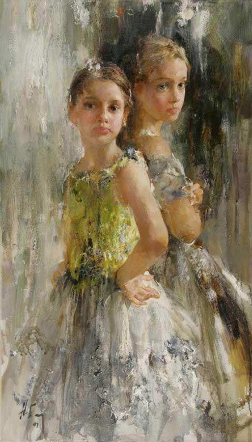 """Nikolai Blokhin - Anya and Ilona 47""""x28"""", oil on linen, 2007"""