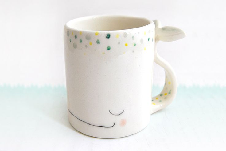 Ceramic Dreamy Whale Mug/ Ceramic Dreamy Whale Cup in Earthenware, Decorated with Green and Yellow Polka Dots. Made To Order by Barruntando on Etsy https://www.etsy.com/ca/listing/195058616/ceramic-dreamy-whale-mug-ceramic-dreamy