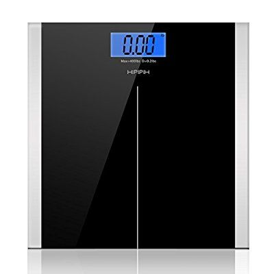 Hippih 400lb / 180kg Electronic Bathroom Scale with Tempered Glass Balance Platform and Advanced Step-On Technology, Digital Weight Scale has Large Easy Read Backlit LCD Display B-001