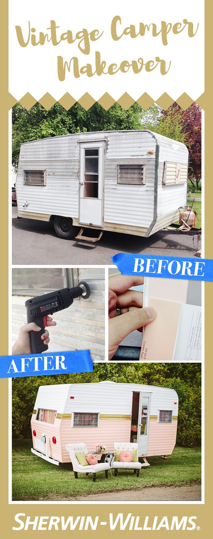 Want to go glamping in style? Or maybe you're just looking for a sweet new clubhouse? Over at @whippycake, Becki transformed a faded vintage camper into a dreamy retro glamper. With the use of Sher-Cryl HPA Semi-Gloss paint in Extra White and Cosmetic Peach by Sherwin-Williams, she was able to paint the perfect hues that will last for years of summer parties, fun shindigs and glamorous gatherings. See how to paint a vintage camper with Sher-Cryl paints.