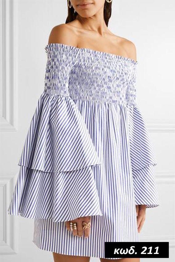 Κωδικός AD211, Υλικό Cotton Blend, Χρώμα Ριγέ Λευκό-Γαλάζιο, Light Blue&White Color, Μακρυμάνικο, Long Sleeves, Ruffle Pleated Sleeves, Φραμπαλάς Μανίκι, Strapless, Shoulderless, Flattering Neck Line, Mini Dress, Romantic, Cute, Ελαστικό, One Size