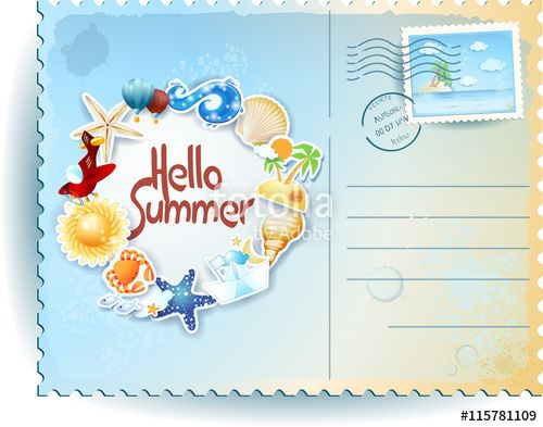 New! :) #summer #beach #postcard #template #vector #h9oliday #vacation https://us.fotolia.com/id/115781109