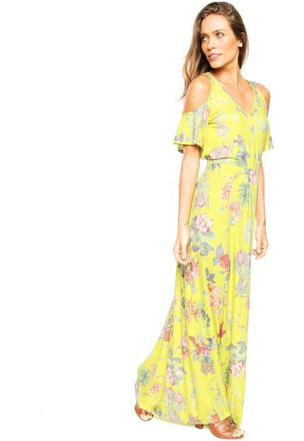Vestido Malwee Ombro Longo Amarelo - Marca Malwee