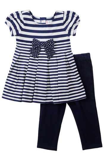 Sweet Heart Rose Nautical Dress & Leggings Set (Infant)
