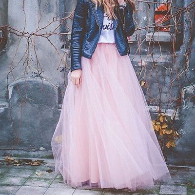 Damen Elastisch 7-schicht Tüllrock Bausch Lang Maxi Tutu lange Röcke Farben100CM
