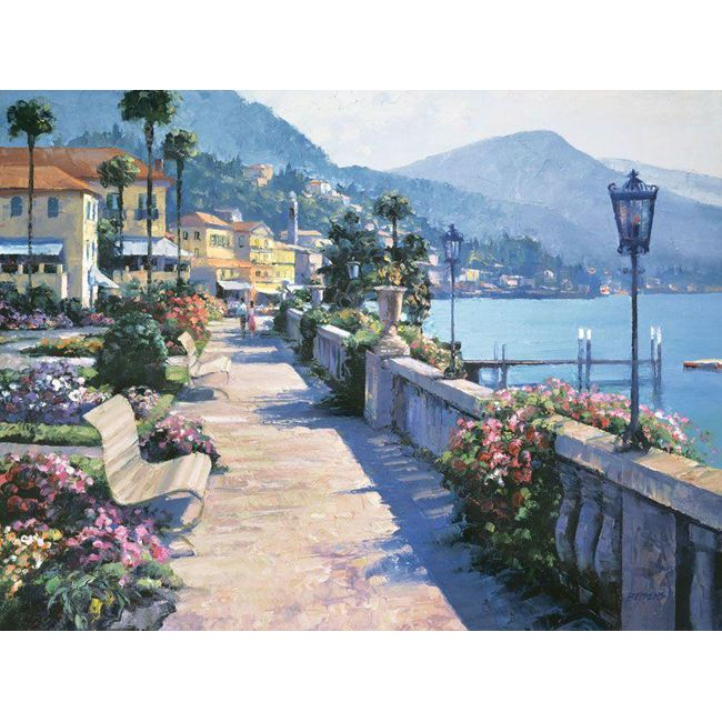 Artist: Howard Behrens Title: Bellagio Promenade Product type: Canvas Style: Contemporary Format: Horizontal Size: Medium Subject: Sea and Shore Image dimensions: 18 inches high x 24 inches wide