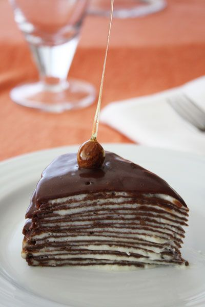 Genius as fuck turning crepe into cake. [Chocolate Mille Crepe Cake with Candied Hazelnut Garnish] #crepe #DIY
