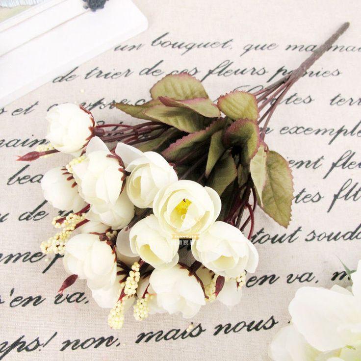 Artificial White Rose 18 Flower Heads Camellia Wedding Peony Arrangement Decor