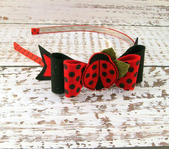Lady Bug Headband -Red Black Felt Bow Headband  - Wool Felt Bow - Red Black Polka Dot Headband - Photo Prop
