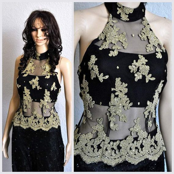 Gold lace halterneck top beaded black cinched waist open for Cinched waist wedding dress