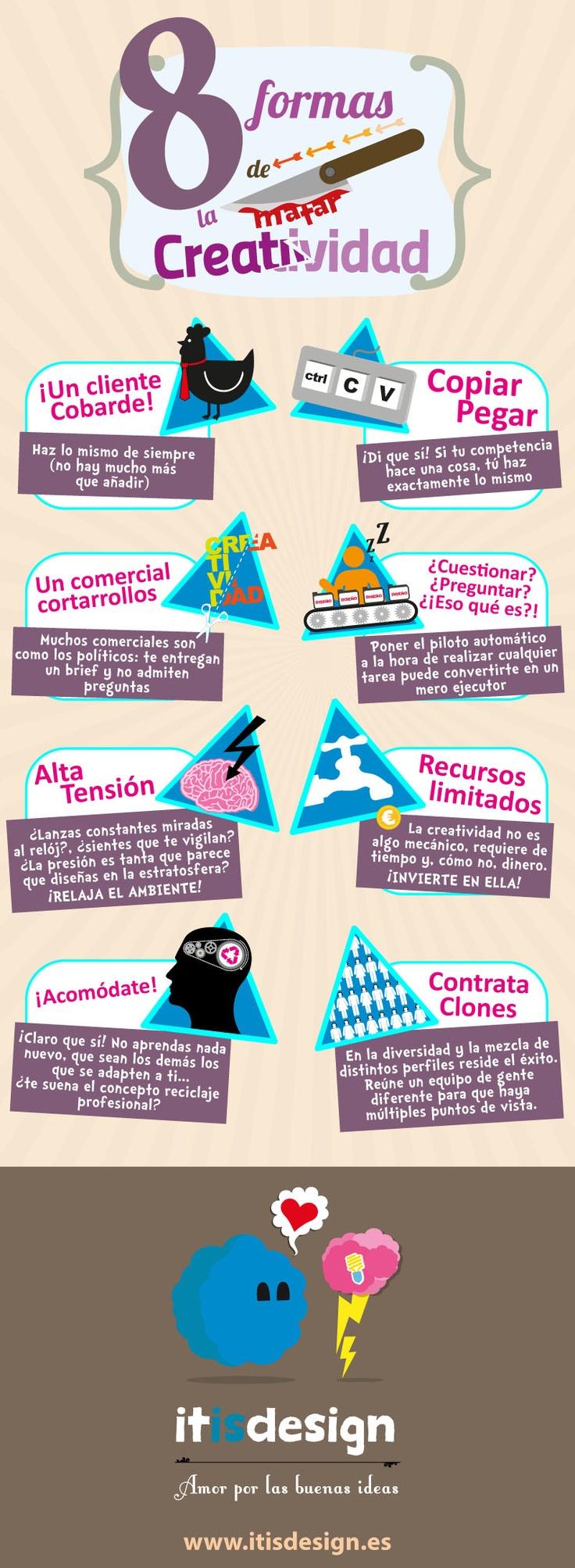 8 formas de matar la creatividad #infografia #diseno #design