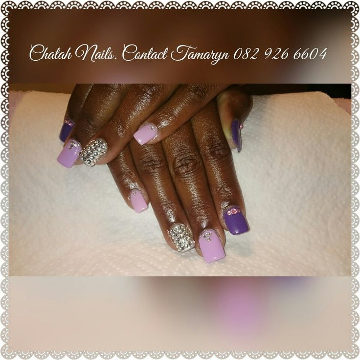 Mat is Farewell nails. Purple and bling with bling