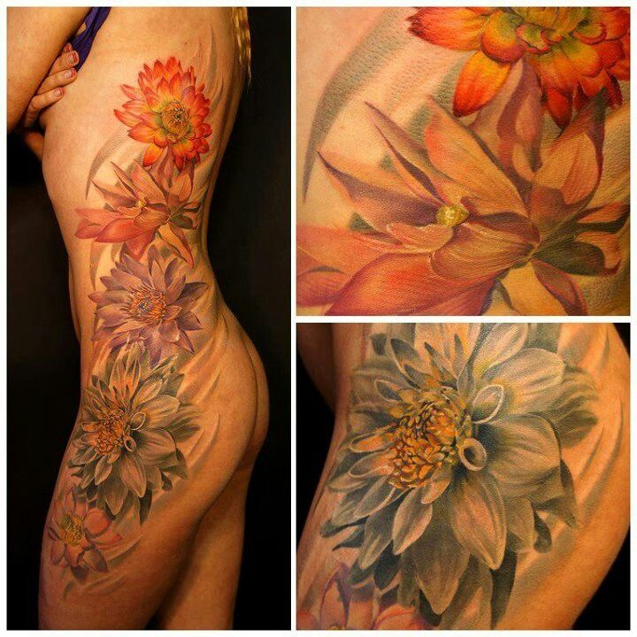 Flower Side Tattoo - Andrey Barkov Grimmy http://tattoosflower.com/flower-side-tattoo-andrey-barkov-grimmy/