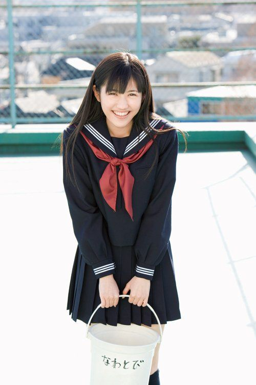 Mayu Watanabe (AKB48).She is wearing the uniform of a Japanese high school. Look so much like Allegra.