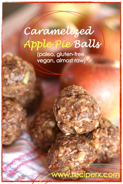 Caramelized Apple Pie Balls!!! Holy moly! These are so gosh darned delicious! Paleo, almost raw (you can make em raw), gluten-free, dairy-free, sugar-free and great for road trips or packing in your lunch box!