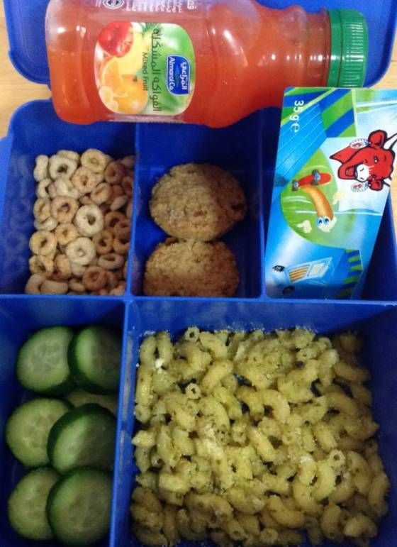 365 Days of Lunchbox Ideas : Day 5 - Mixed Fruit Juice, Pesto Pasta, Cucumber, Laughing Cow & Breadsticks, Banoffee Biscuit Bites, Cheerios