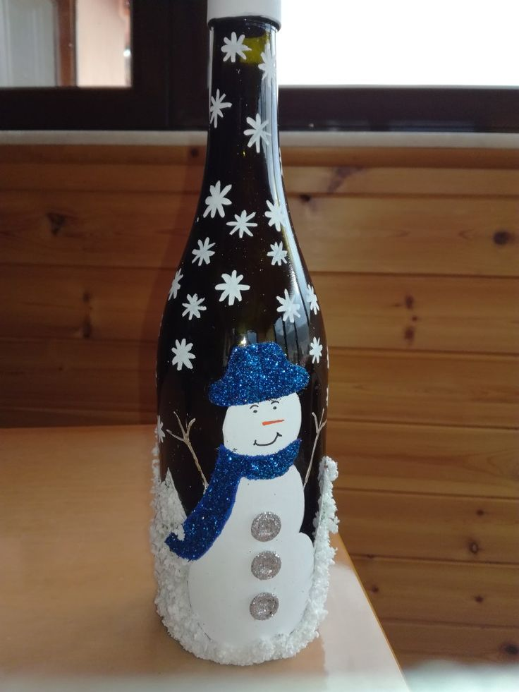 Christmas snowman with blue cap and scarf.
