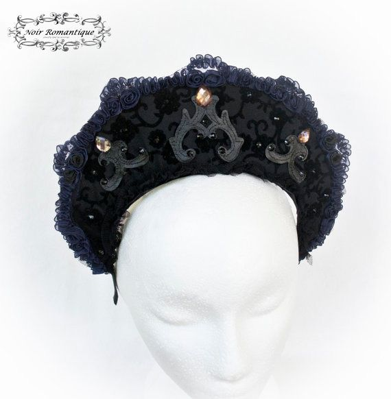 Black Ornament Gothic Couture Headpiece -Gothic Headpiece-Gothic Headress-Headpiece-Gothic Crown