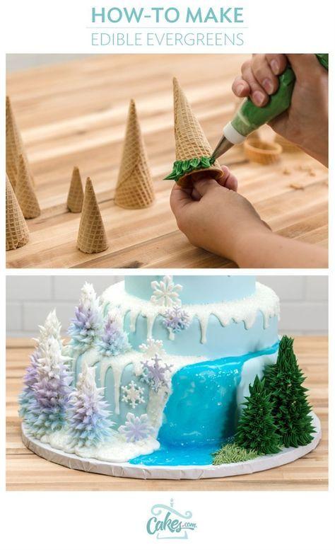 Stellen Sie essbare Bäume mit Zuckerglasur für einen Winter oder gefrorenen Kuchen her.