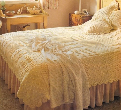 Heirloom Aran Bedspread + Cushions Granny Squares & Leafy Edging SENT FOLDED | eBay