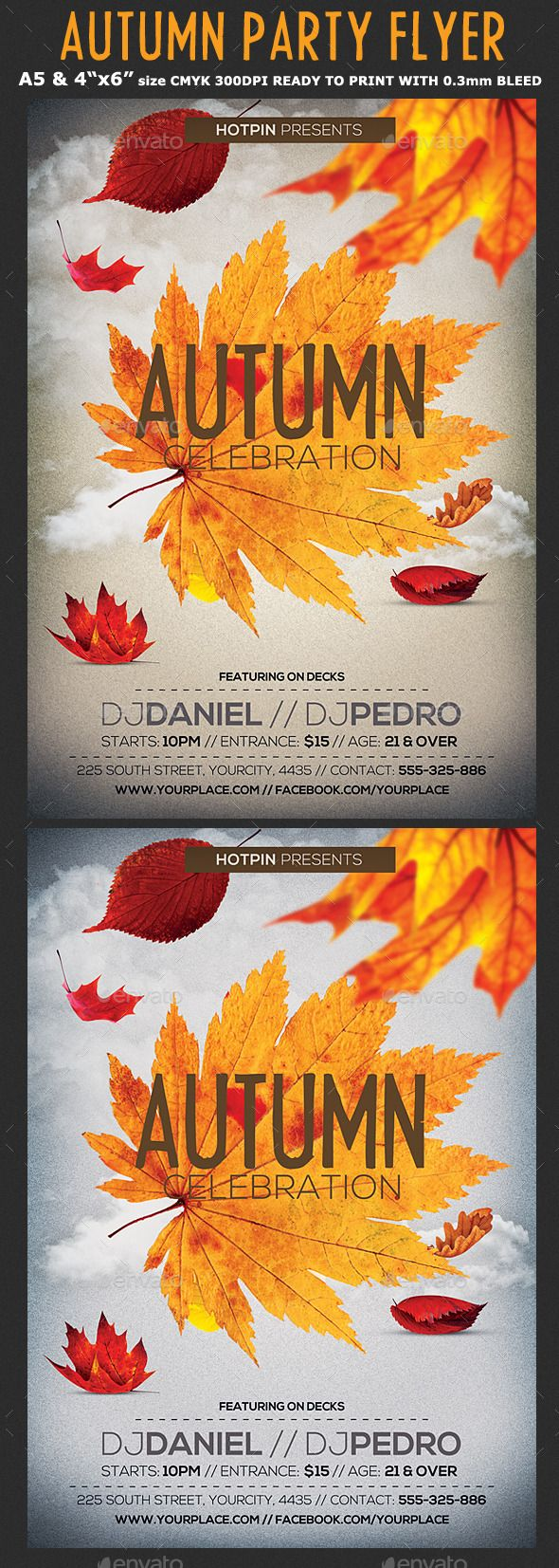 Autumn/Fall Party Flyer Template PSD #design Download…