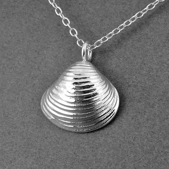 Sterling Silver Freshwater Clam Necklace Pendant by SamaritanJewelers, $32.00