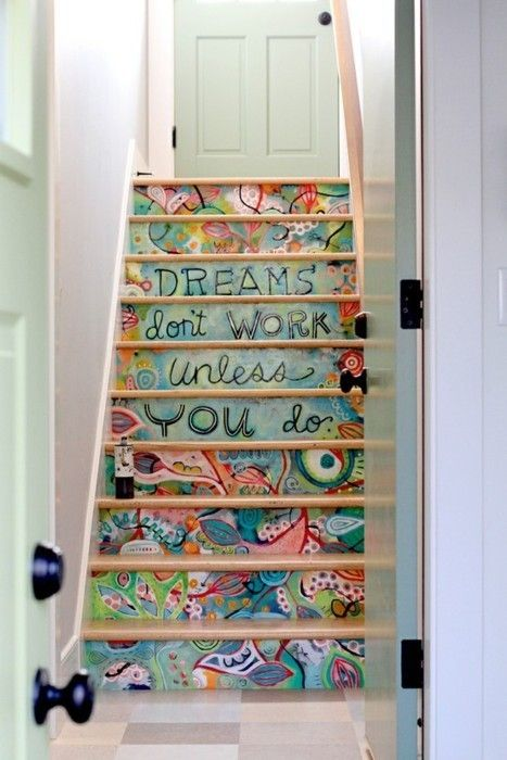Work it! First free style fantasy staircase I've seen. Let your middle schoolers paint the back stairs. Have them present you with the plan and color scheme, the make them FINISH it. It's all in the finishing, people. Life lesson from old lady here, BELIEVE ME.
