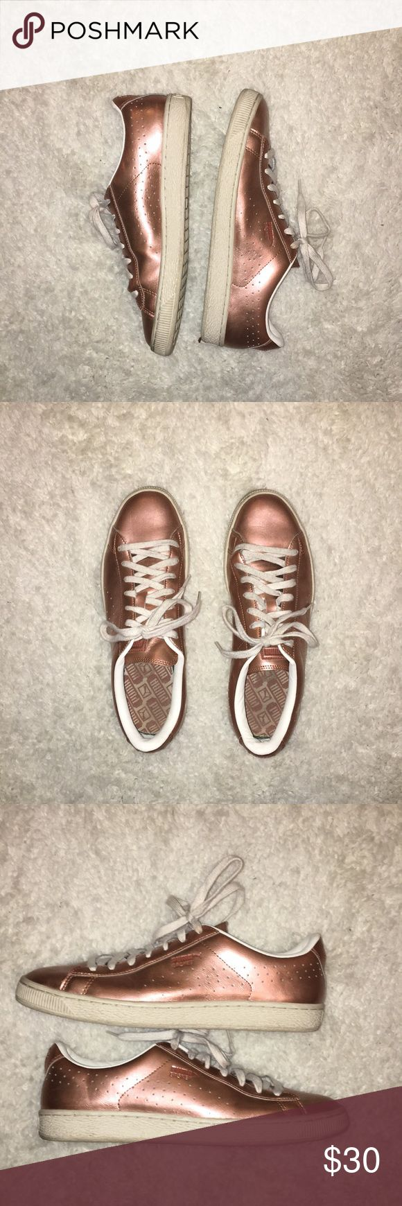 PUMA Basket tennis shoes Lightly worn tennis shoes by PUMA. Awesome rose gold coloring. Great condition. Size 10. Puma Shoes Athletic Shoes #tennisshoes