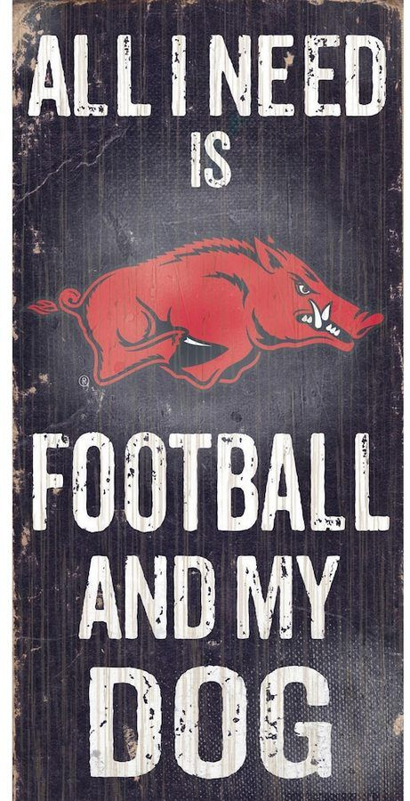 """$14 - NCAA Arkansas Razorbacks Football & My Dog Sign - Dog and football lovers rejoice, this Arkansas Razorbacks sign combines the best of both worlds. """"All I Need is Football and My Dog"""" text Painted in team colors Distressed look 12"""" x 6"""" MDF wood Wipe clean Imported Shop our full assortment of Arkansas Razorbacks items here. When you're a fan, you're family! Size: One Size. Color: Multicolor."""