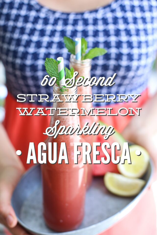 A homemade naturally-sweetened strawberry watermelon aqua fresca recipe that only requires 60 seconds to make!