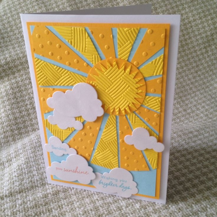 """Sending you Sunshine - wishing you brighter days card - cut triangle """"sun rays"""" and sunburst out on my pazzles and used 2 embossing folders on the pieces to add texture. Saw and copied a steps version by Dawn Mcvay."""