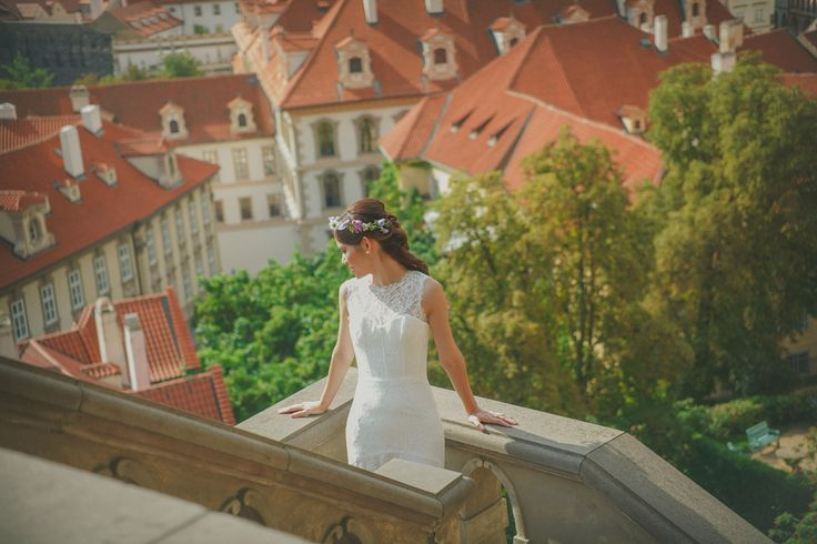 A bride from Hong Kong enjoys the views at Prague's Ledeburska Garden: www.KurtVinion.com