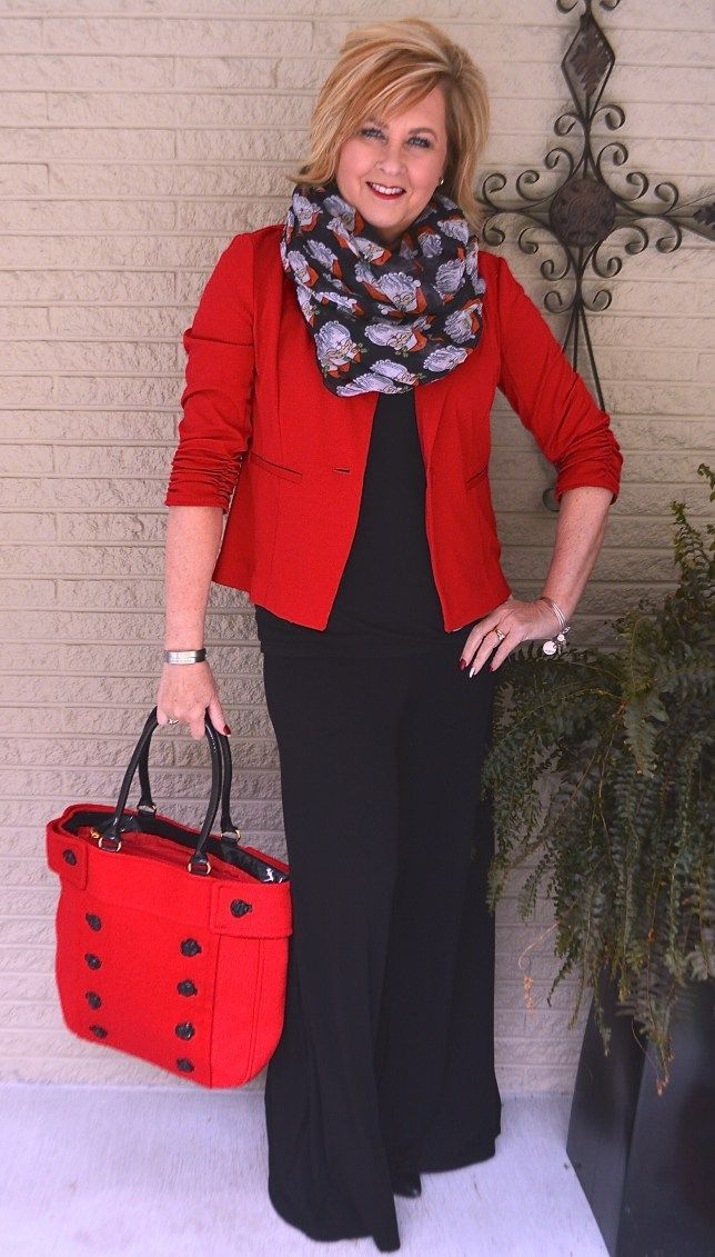 50 IS NOT OLD   RED AND BLACK A CLASSIC COMBINATION   Palazzo Pants   Santa Claus   Scarf   Fashion over 40 for the everyday woman