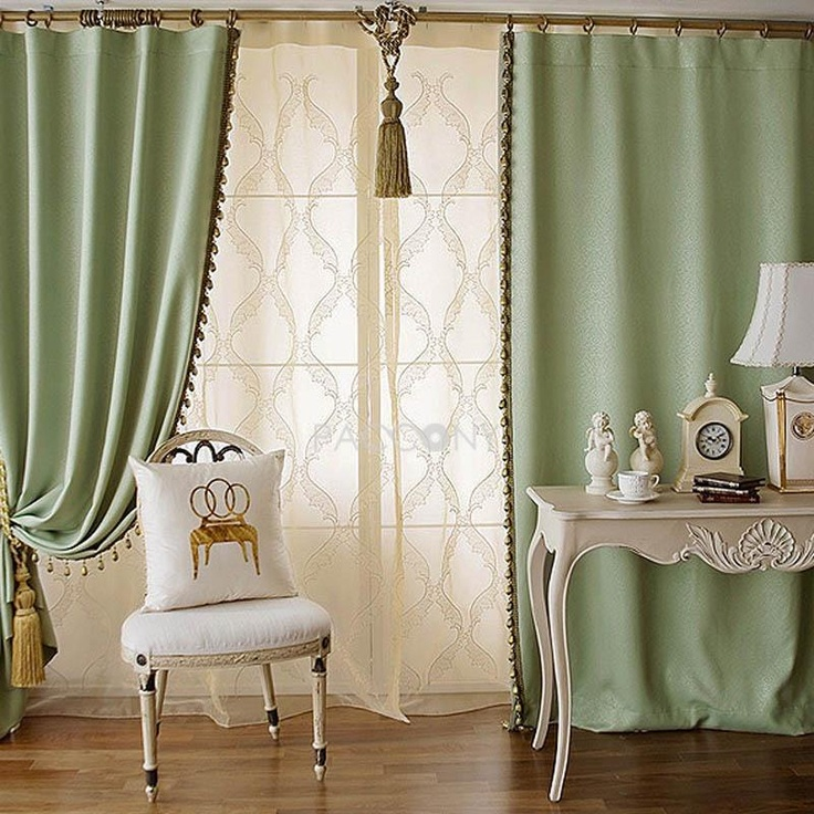 $61.99 Free Shipping Select Classical Top Pure Color Blackout Curtain(Green)  On Http: