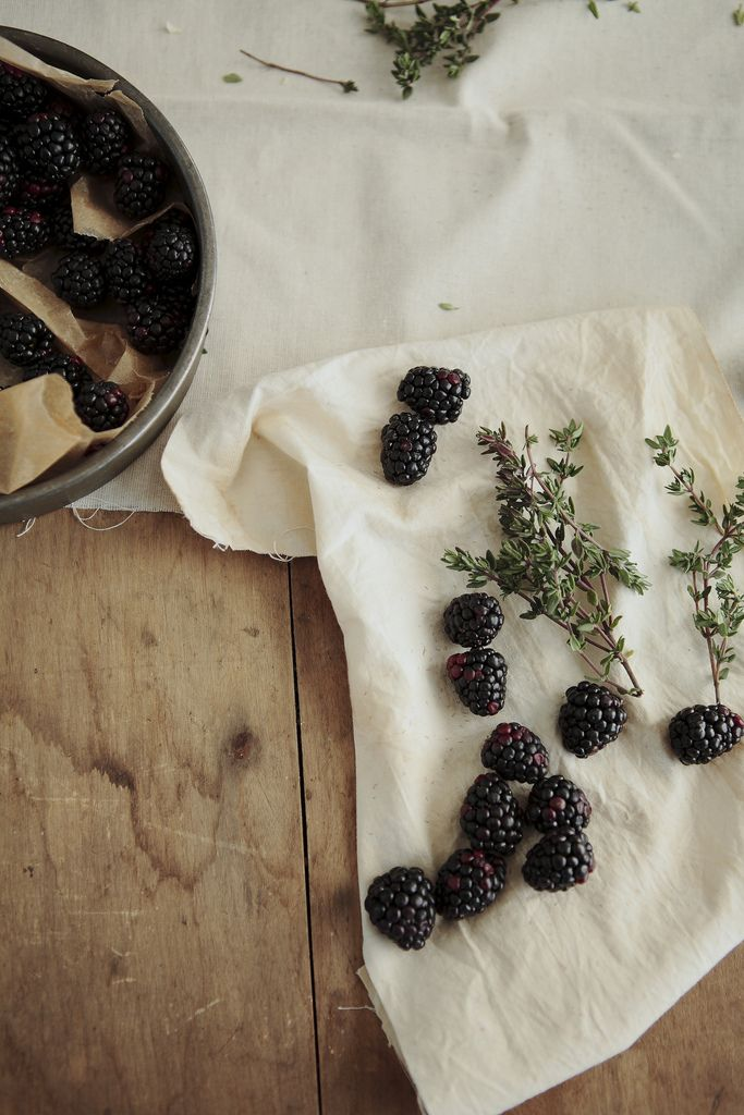 via @Kate @ Wit + Delight: Berries Pick, The Berries, Summer Fruit, Fun Recipe, Thyme, Blackberries Tarts, Herbs, Goats Chee, Savory Recipe