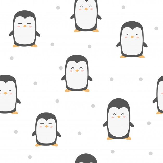 Cute Adorable Funny Penguin Animals Cartoon Seamless Pattern Wallpaper Background Cartoon Animals Penguin Animals Bunny Wallpaper